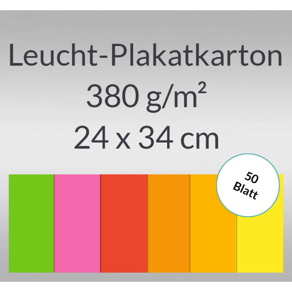 Leucht-Plakatkarton 380 g/qm 24 x 34 cm - 50 Blatt