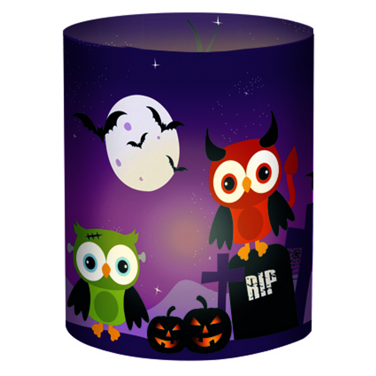 """Mini-Tischlichter """"Ambiente"""" Halloween Eulen lila - Motiv 114"""