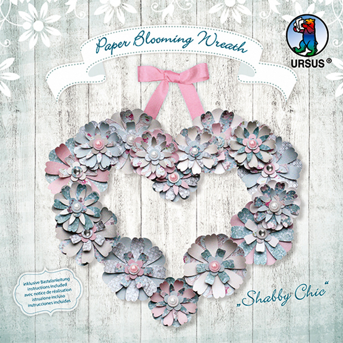 """Paper Blooming Wreath """"Shabby Chic"""""""