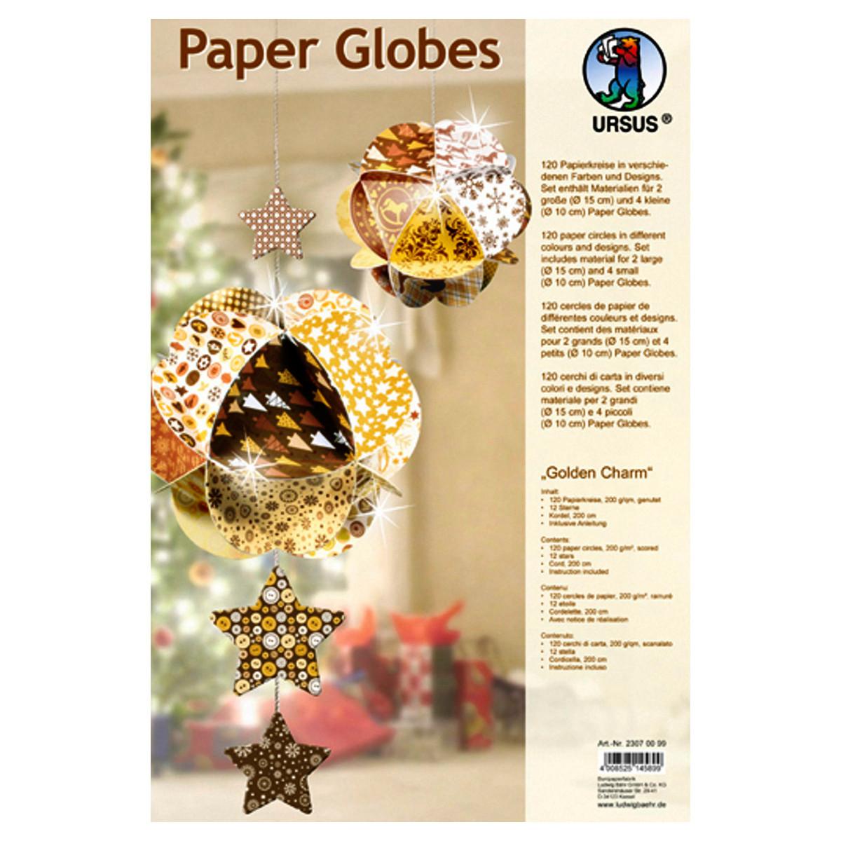 "Paper Globes ""Golden Charm"""