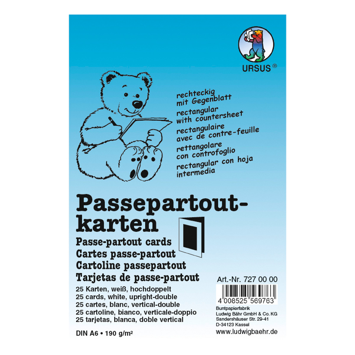 Passepartoutkarten rechteckig DIN A6 hochdoppelt weiß - 25 Stück