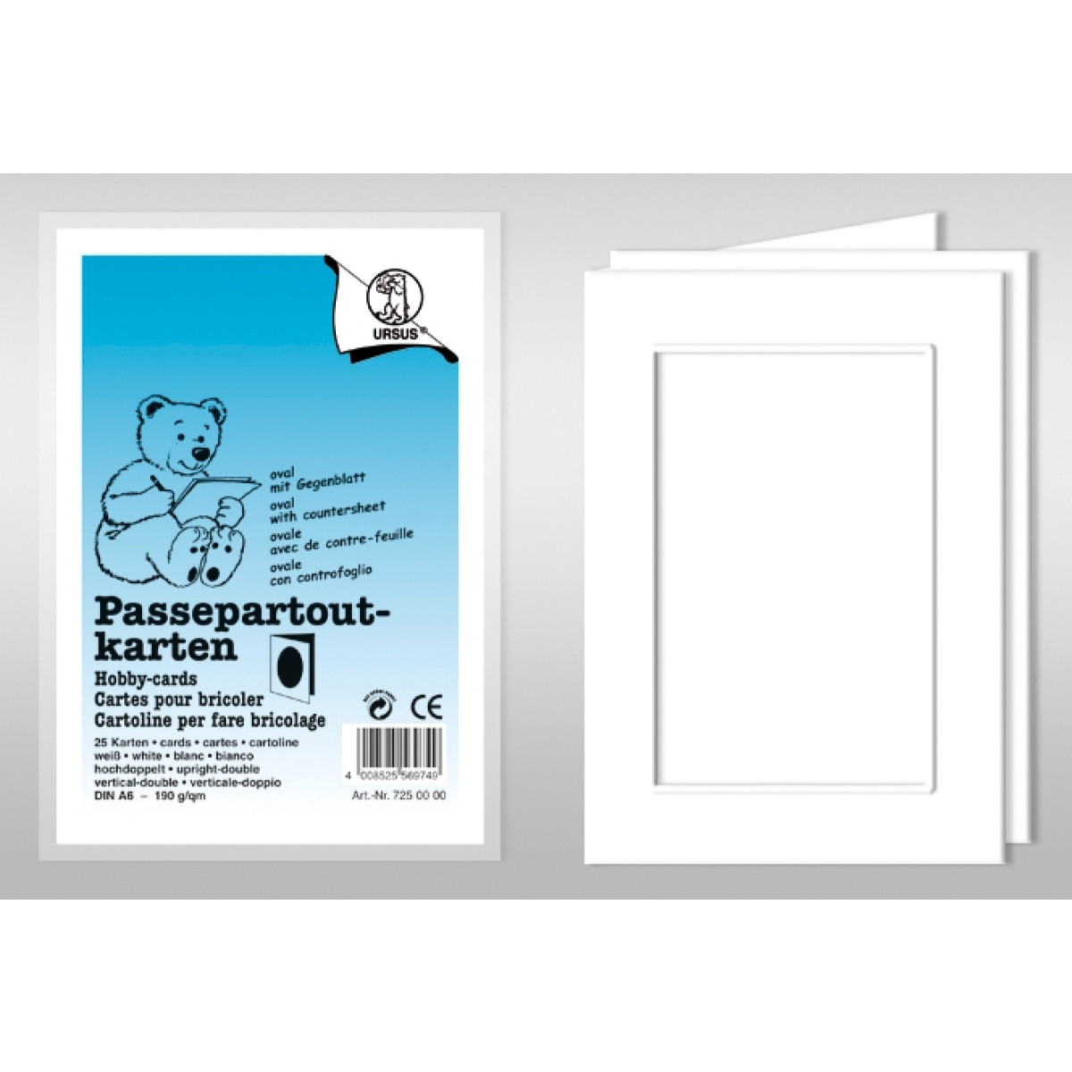 Passepartoutkarten rechteckig mit Briefumschlägen DIN A6 hochdoppelt - 5 Stück