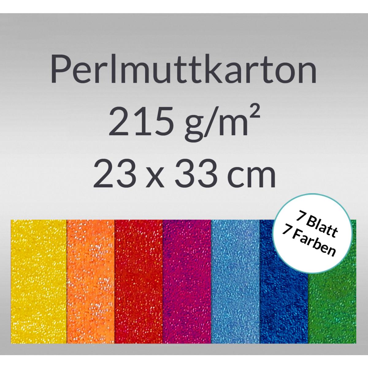 Pearlmuttkarton 23 x 33 cm - 7 Blatt sortiert