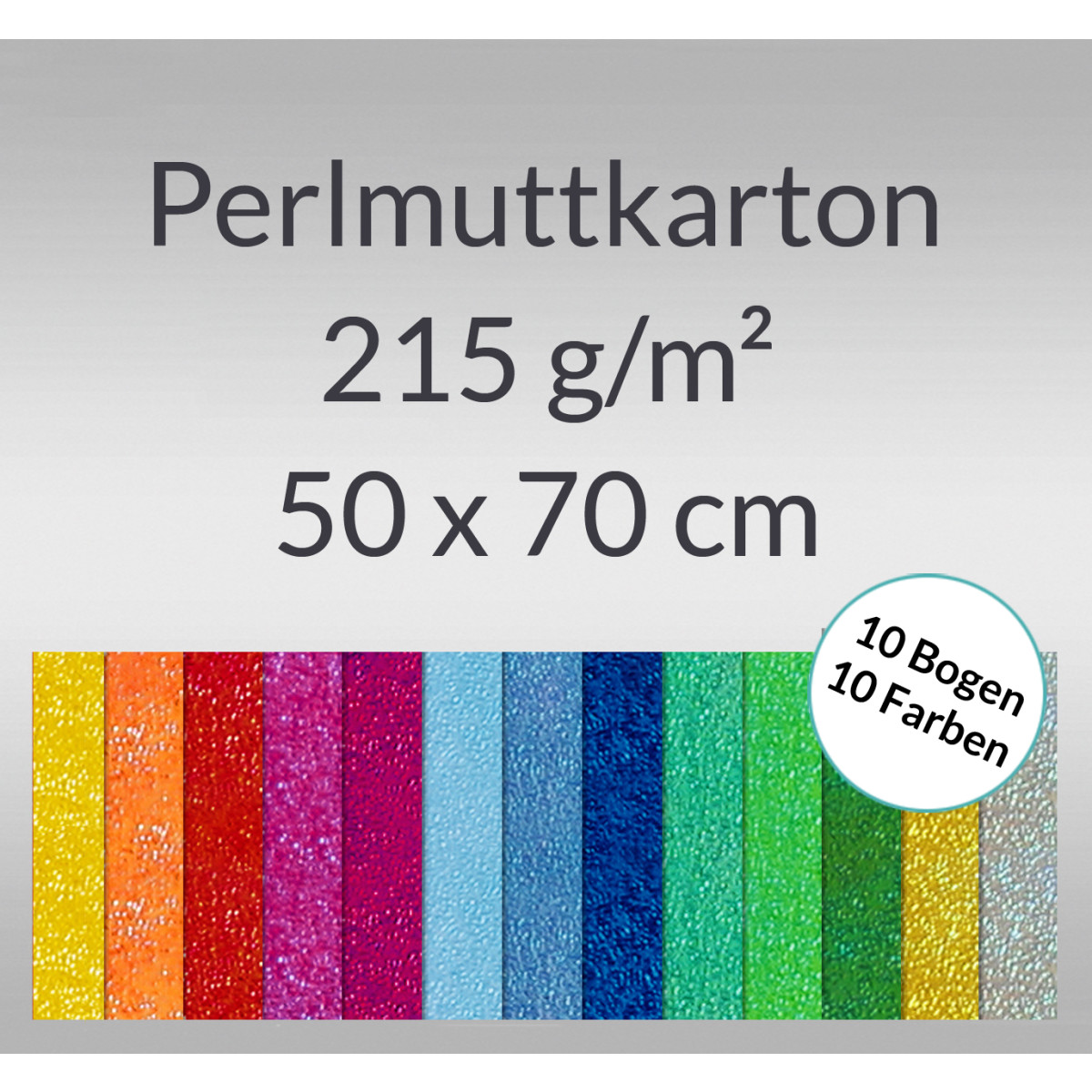 Pearlmuttkarton 50 x 70 cm - 10 Bogen sortiert
