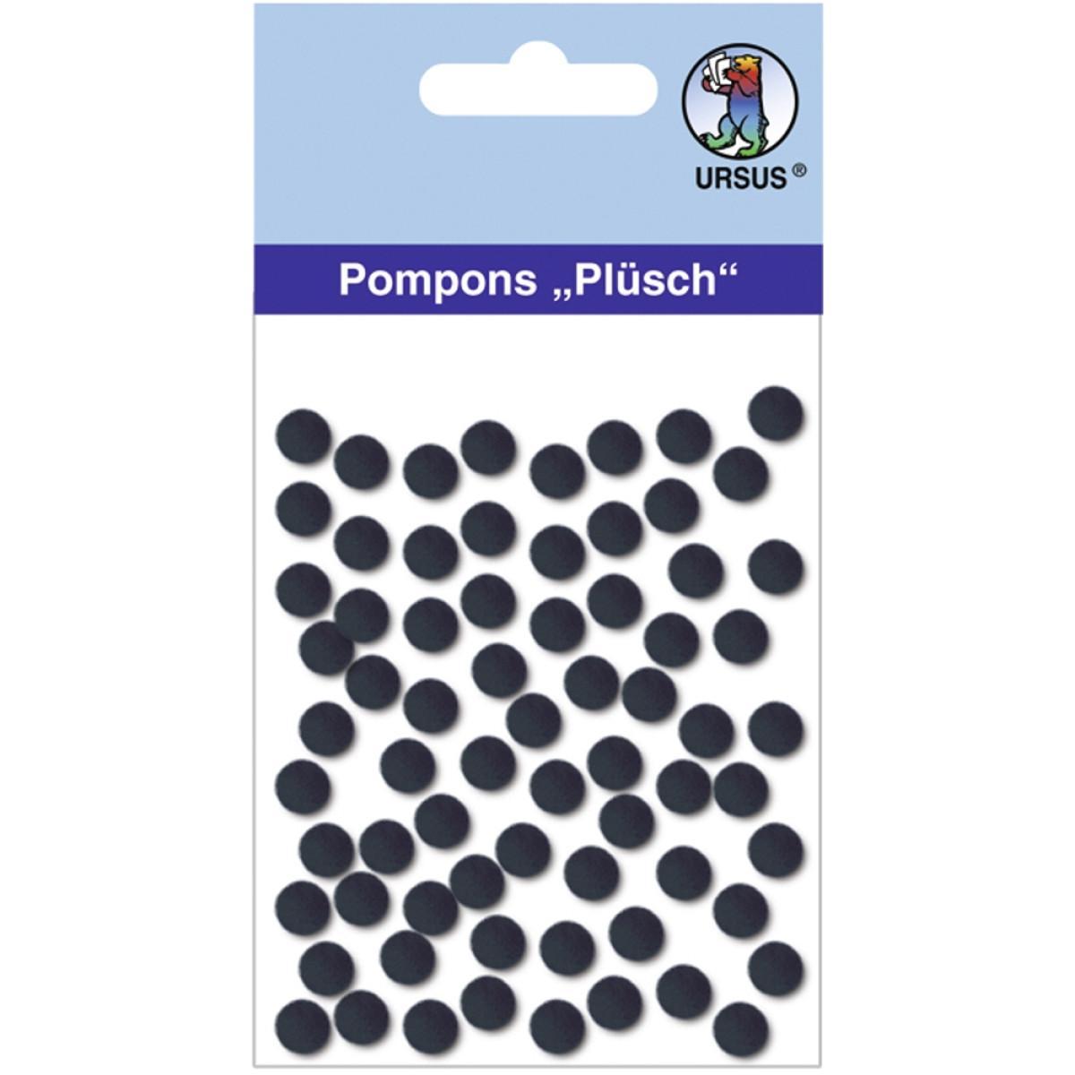 """Pompons """"Plüsch"""" 7 mm schwarz"""