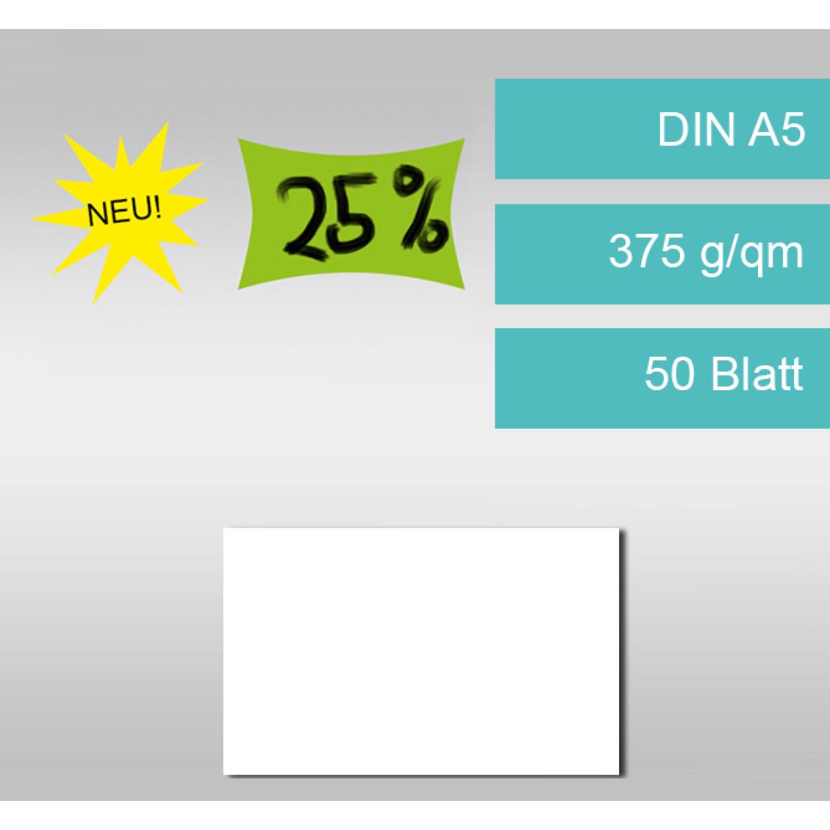 Preisschilderkarton 375 g/qm DIN A5 weiß - 50 Blatt