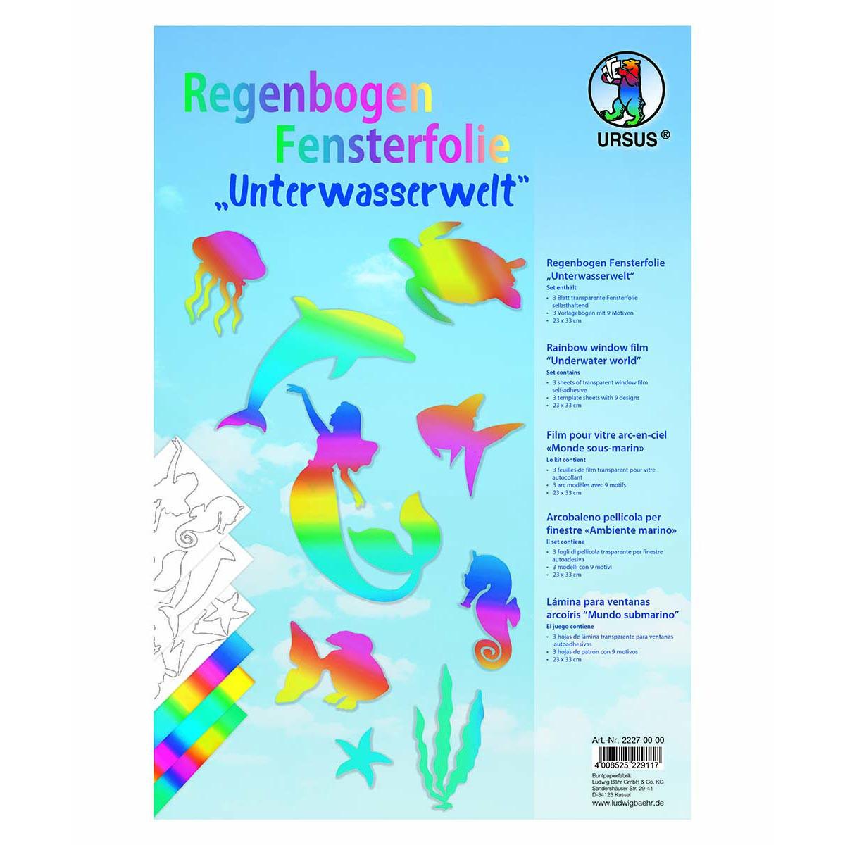 """Regenbogen Fensterfolie """"Unterwasserwelt"""" - selbstklebend"""
