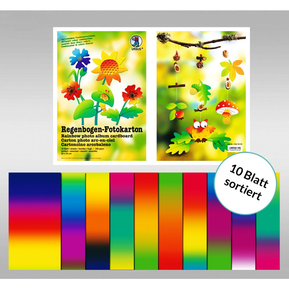 Regenbogen-Fotokarton 23 x 33 cm - 10 Blatt sortiert