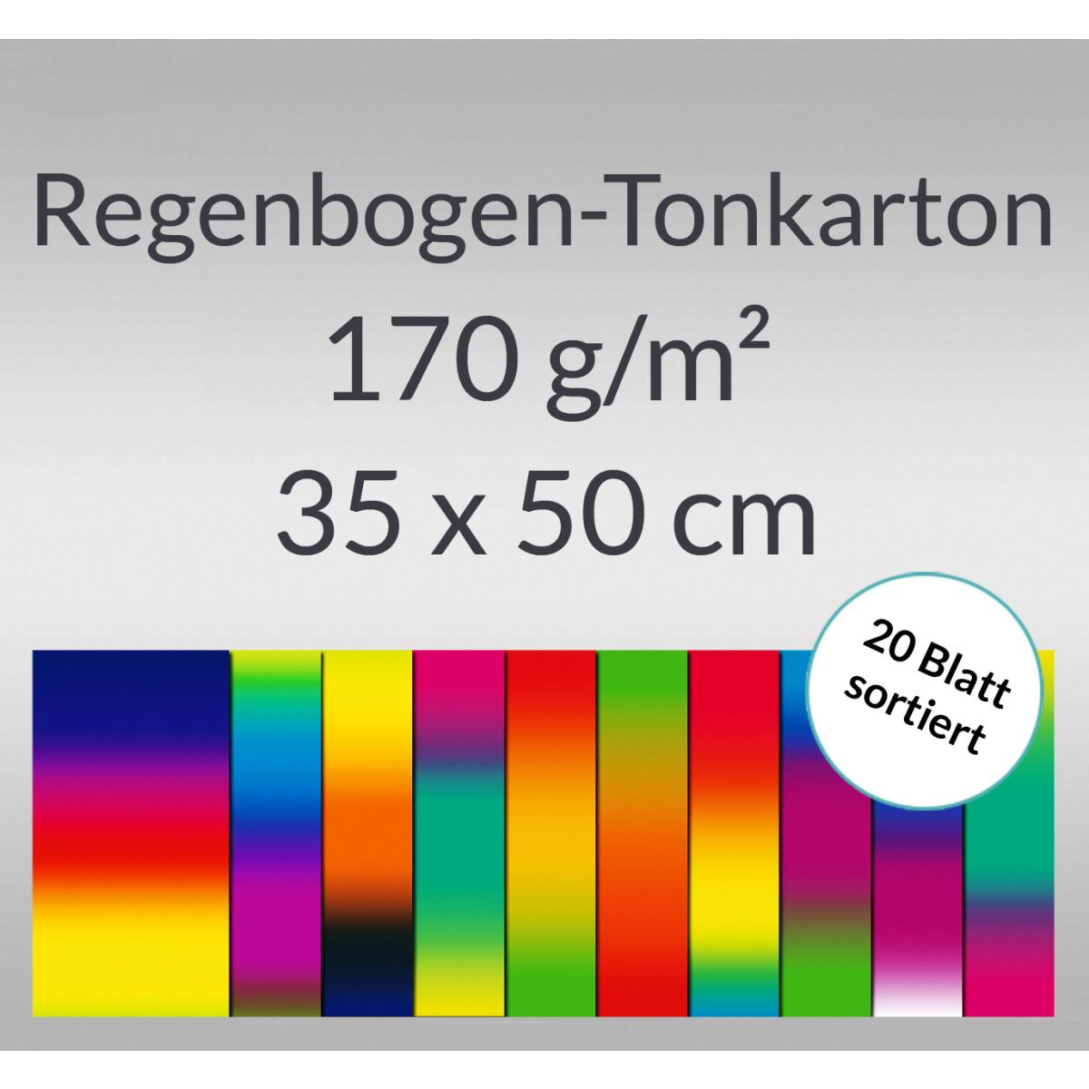 Regenbogen-Tonkarton 170 g/qm 35 x 50 cm - 20 Blatt sortiert