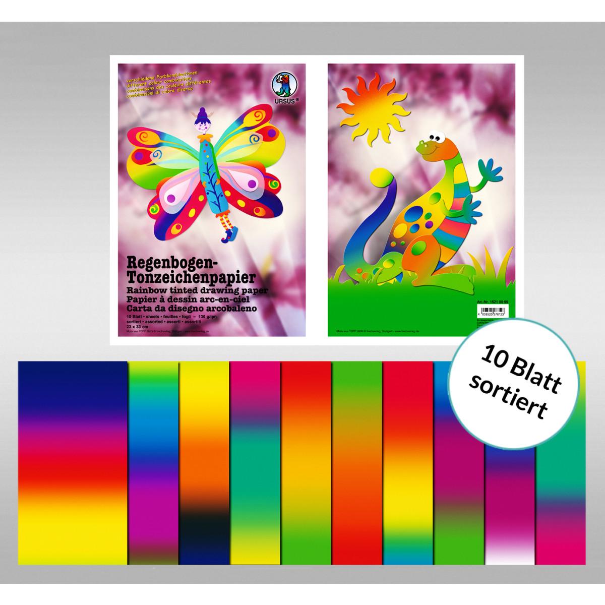 Regenbogen-Tonzeichenpapier 130 g/qm 23 x 33 cm - 10 Blatt sortiert