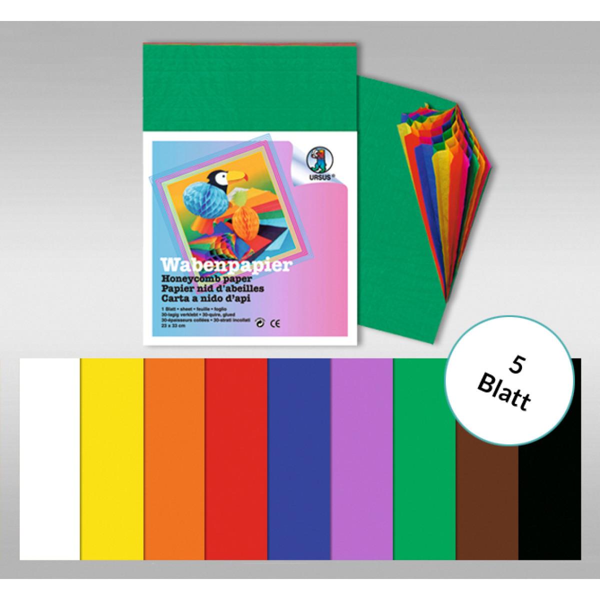 Regenbogen-Wabenpapier 34,5 x 49,5 cm - 5 Blatt