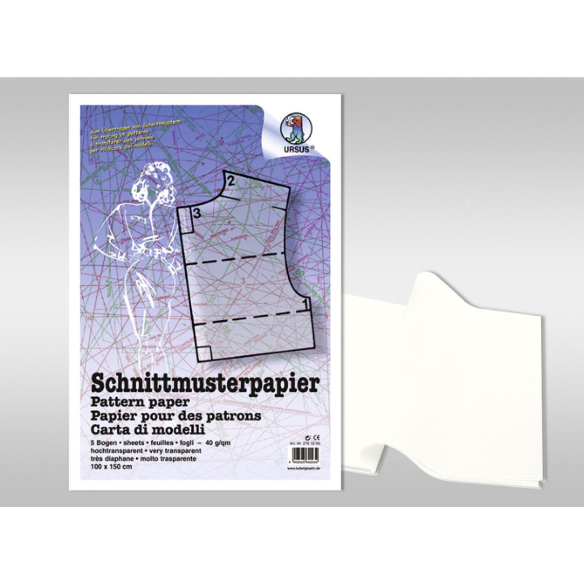 Schnittmusterpapier 40 g/qm 100 x 150 cm - 5 Bogen - Buntpapierwelt