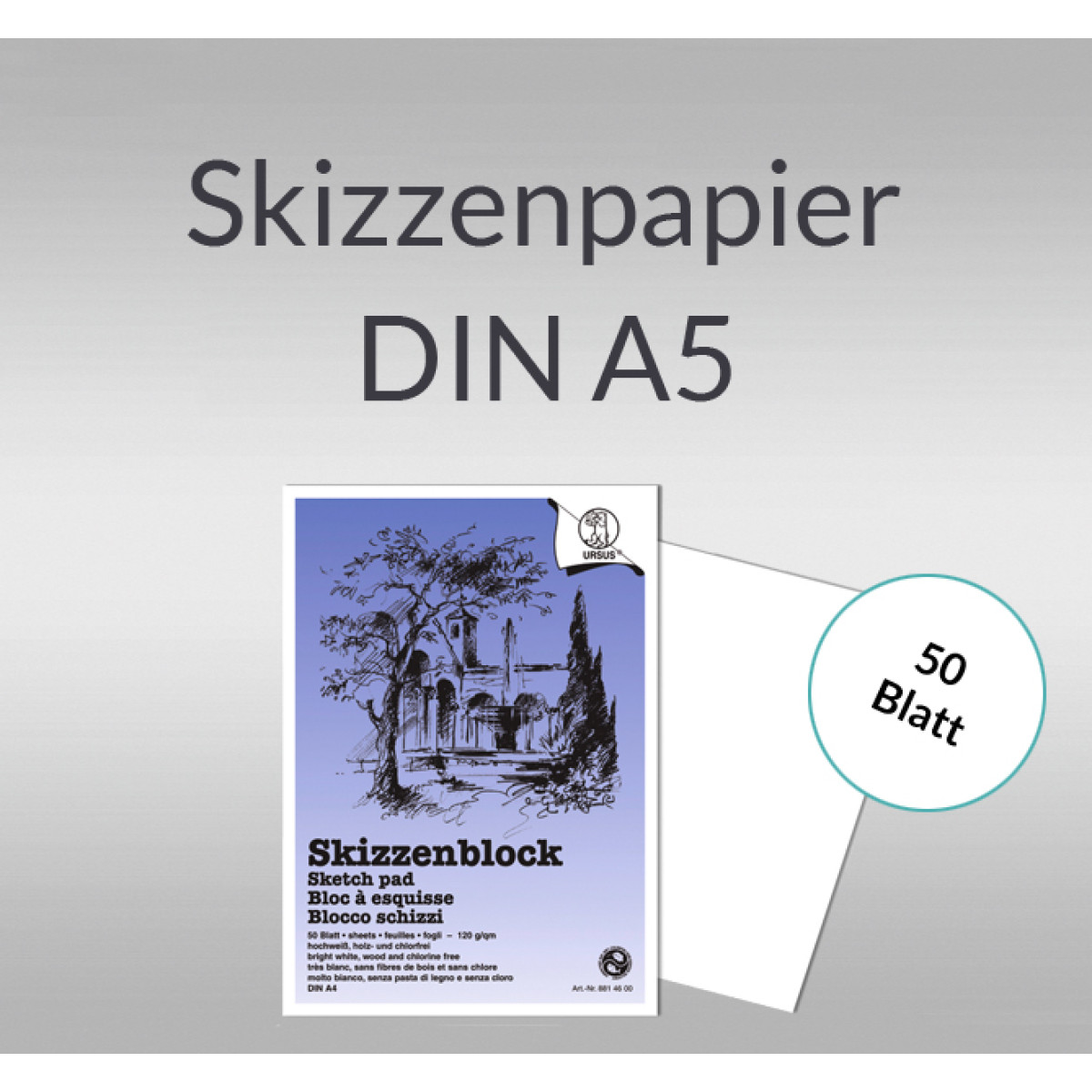 Skizzenblock 120 g/qm DIN A5
