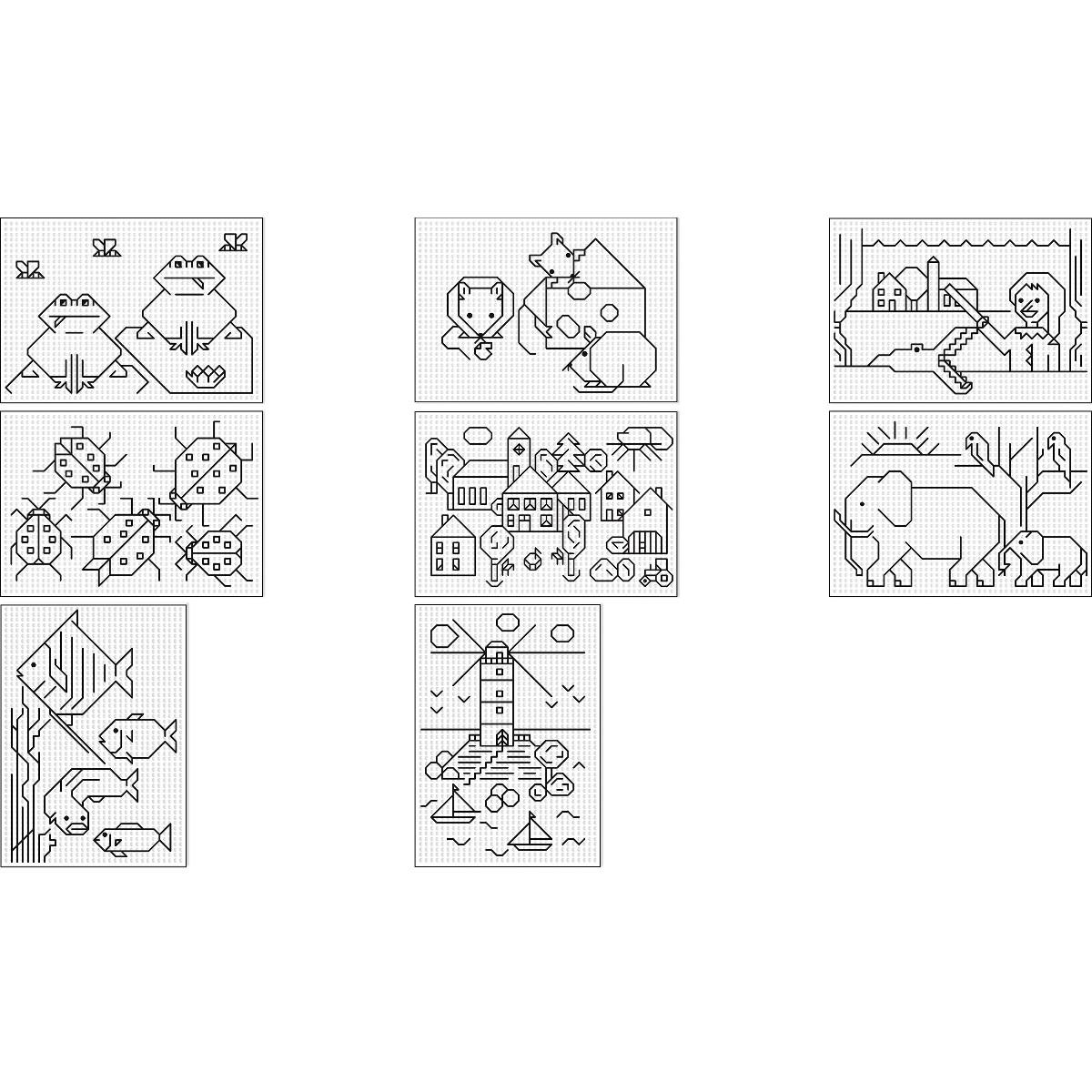 Stickkarton 300 g/qm 17 x 24 cm - 40 Blatt mit 8 Motiven