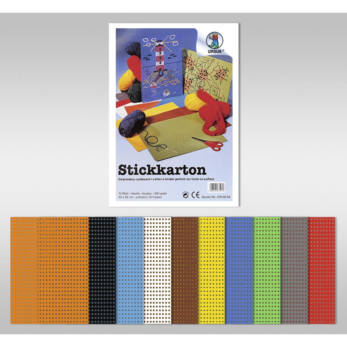 Stickkarton 300 g/qm 23 x 33 cm - 10 Blatt sortiert