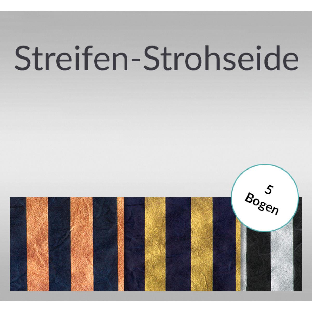 Streifen-Strohseide 30 g/qm 50 x 70 cm - 5 Bogen