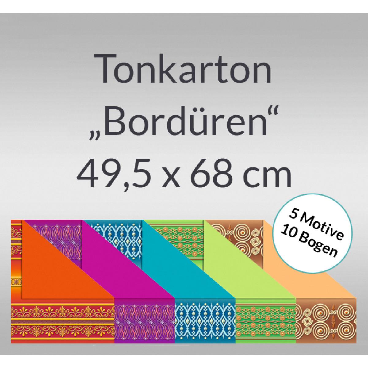 "Tonkarton ""Bordüren"" 220 g/qm 49,5 x 68 cm - 10 Bogen sortiert"