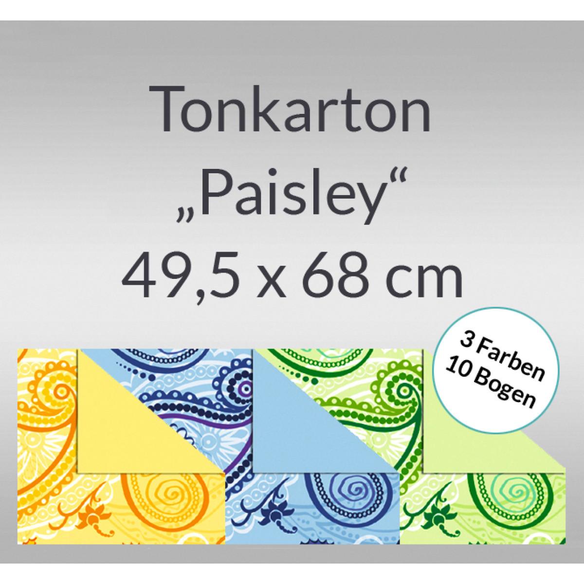 """Tonkarton """"Paisley"""" 220 g/qm 49,5 x 68 cm 10 Bogen sortiert"""