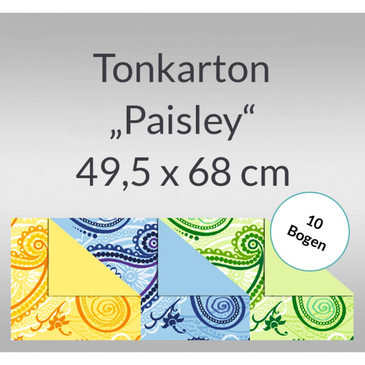 "Tonkarton ""Paisley"" 220 g/qm 49,5 x 68 cm - 10 Bogen"
