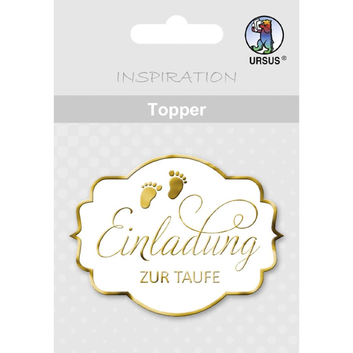 Topper Einladung Zur Taufe Weißgold Motiv 07