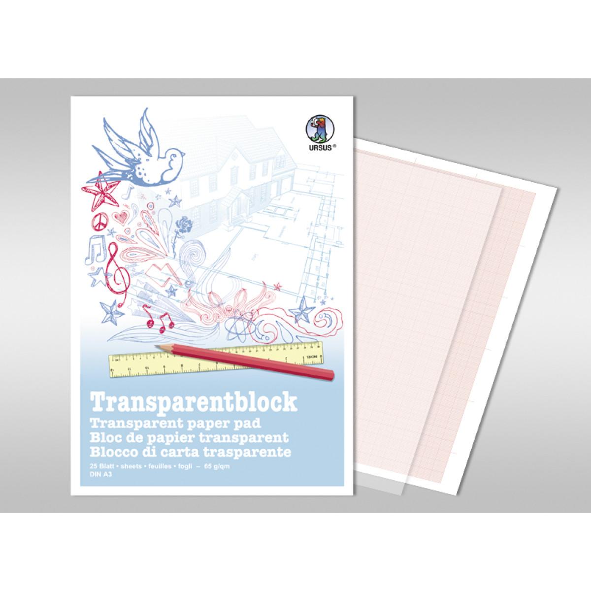 Transparentblock 65 g/qm DIN A3 - 25 Blatt