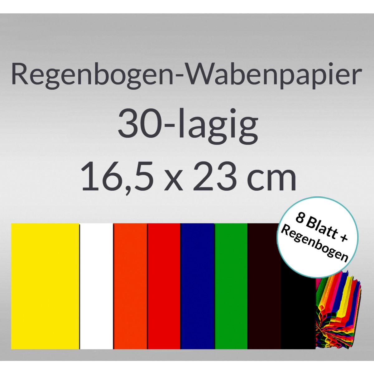 Wabenpapier 16,5 x 23 cm - 10 Blatt in 8 Farben + Regenbogen