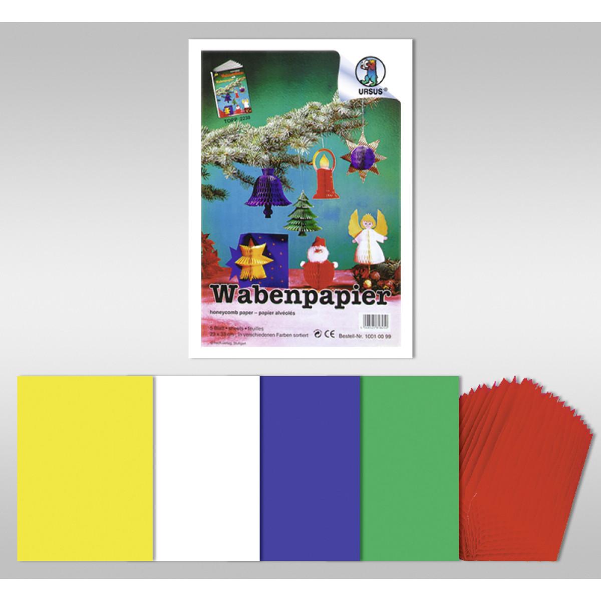 """Wabenpapier """"Weihnachtsmotiv"""" 23 x 33 cm - 5 Blatt"""