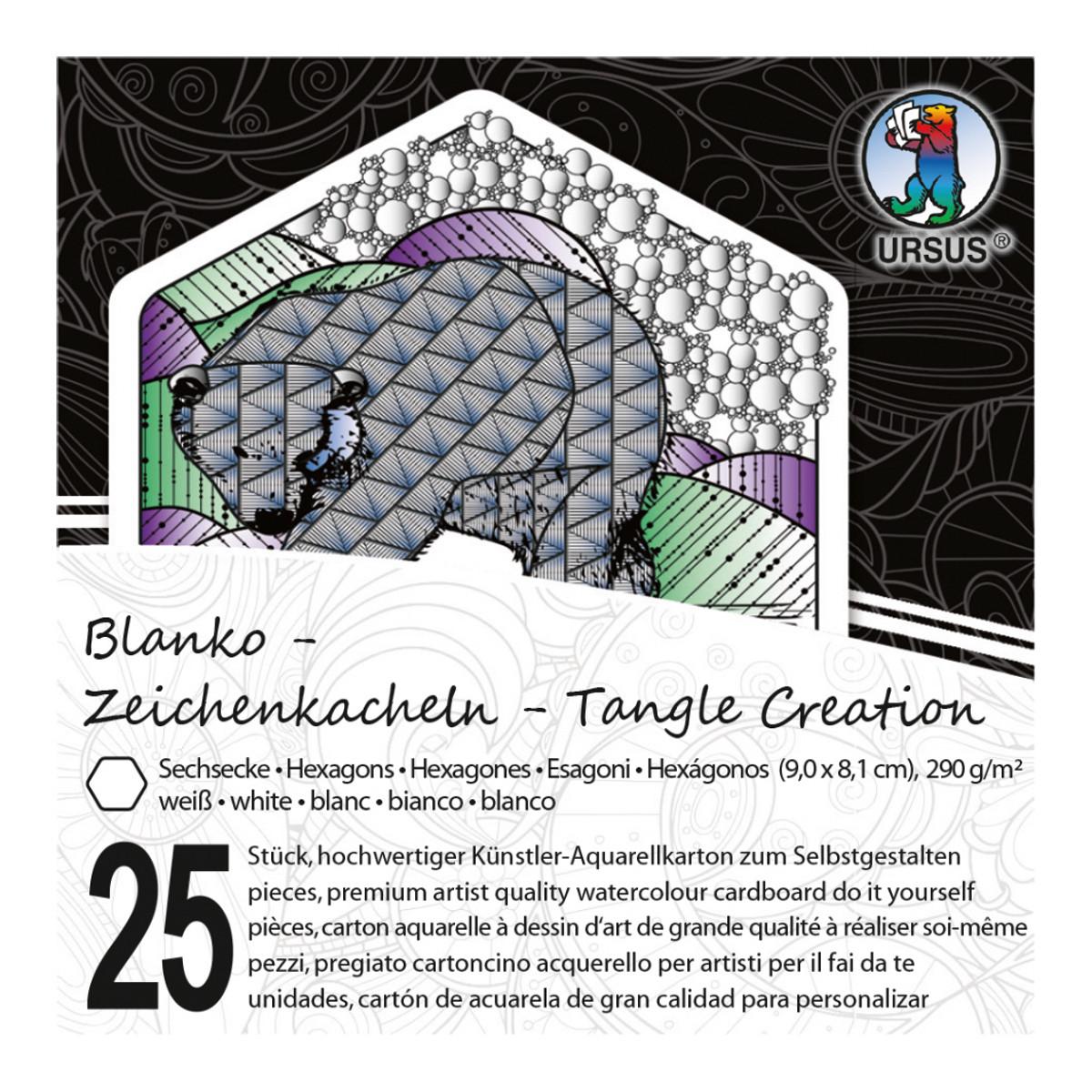 """Zeichenkacheln """"Tangle Creation"""" Sechseck 9 x 9 cm hochweiß - 25 Kacheln mit Box"""