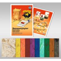 Bananenpapier 35 g/qm 47 x 64 cm - 25 Bogen sortiert in 11 Farben