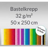 Bastelkrepp 32 g/qm 50 cm x 2,5 m - 10 Rollen sortiert