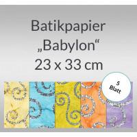 """Batikpapier """"Babylon"""" 23 x 33 cm - 5 Blatt"""