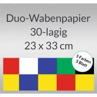 Duo-Wabenpapier 23 x 33 cm - 5 Blatt sortiert