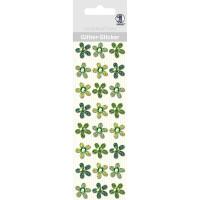"""Glitter Sticker """"Blüten"""" grün"""