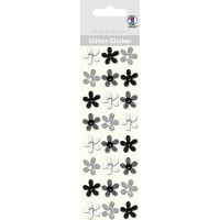 """Glitter Sticker """"Blüten"""" schwarz/weiß"""