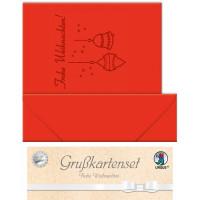 """Grußkarten """"gelasert"""" Frohe Weihnachten rubinrot - 5 Karten"""