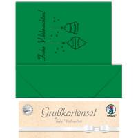 """Grußkarten """"gelasert"""" Frohe Weihnachten tannengrün - 5 Karten"""