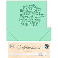 """Grußkarten """"gelasert"""" Lebensbaum meergrün - 5 Karten"""
