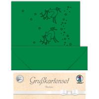 """Grußkarten """"gelasert"""" Rentier tannengrün - 5 Karten"""