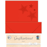 "Grußkarten ""gelasert"" Sternen rubinrot - 5 Karten"