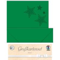 """Grußkarten """"gelasert"""" Sternen tannengrün - 5 Karten"""