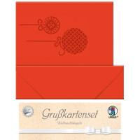"""Grußkarten """"gelasert"""" Weihnachtskugeln rubinrot - 5 Karten"""
