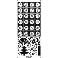 """Kreativ Sticker """"Adventszahlen Weihnachtsmotive"""" silber"""