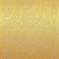 """Kreativ Sticker """"Einladung zur Party"""" gold"""