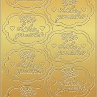"""Kreativ Sticker """"mit Liebe gemacht"""" gold"""