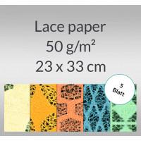 Lace paper 50 g/qm 23 x 33 cm - 5 Blatt