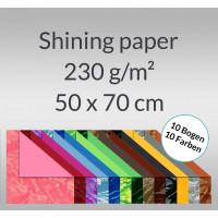 Shining paper 50 x 70 cm - 10 Bogen sortiert