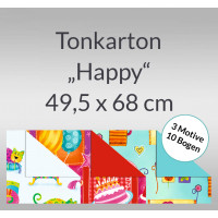 """Tonkarton """"Happy"""" 220 g/qm 49,5 x 68 cm - 10 Bogen sortiert"""