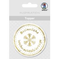"""Topper """"Besinnliche Weihnachtsfeiertage"""" weiß/gold - Motiv 13"""