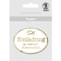 """Topper """"Einladung zu meiner Kommunion"""" weiß/gold - Motiv 09"""
