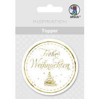"""Topper """"Frohe Weihnachten"""" weiß/gold - Motiv 12"""